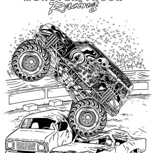 monster truck bigfoot flames coloring page kids play color