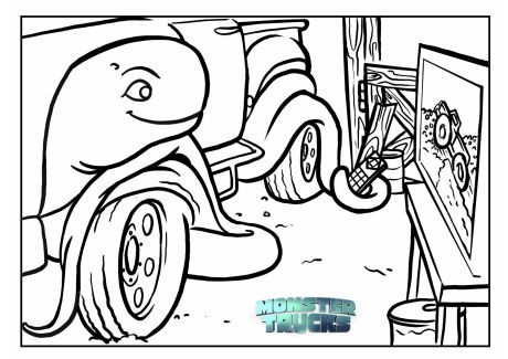 monster trucks colouring page