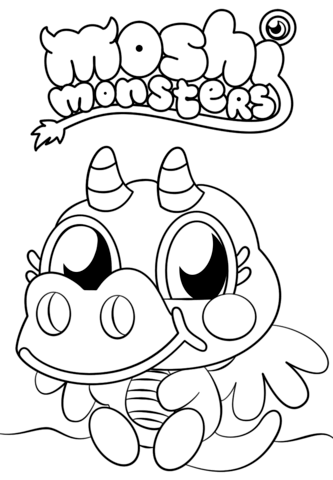 moshi monsters burnie coloring page free printable