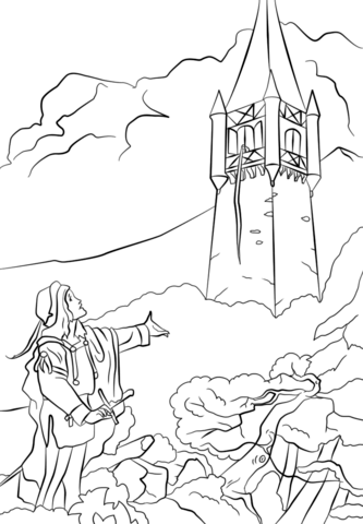 pince bids rapunzel let her hair down coloring page free