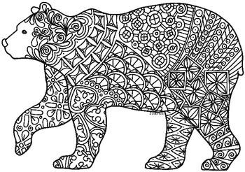 polar bear zentangle coloring page bear art coloring