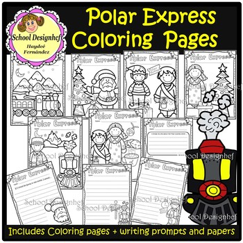 polar express coloring pages writing promptspaper