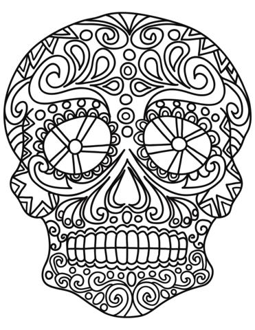 pop art sugar skull coloring page free printable