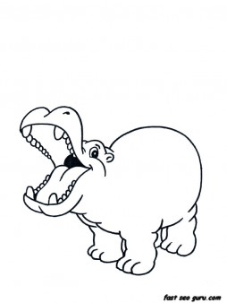printable animal little hippo coloring pages free