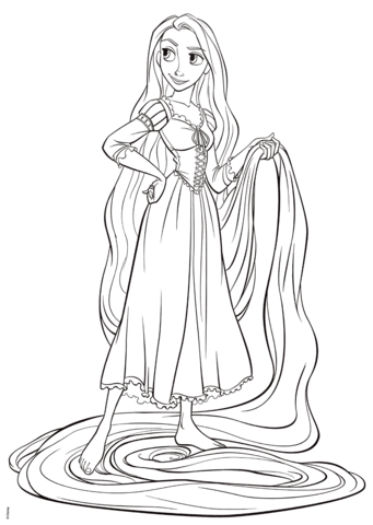 rapunzel from tangled coloring page free printable
