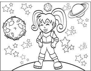 space girl coloring page