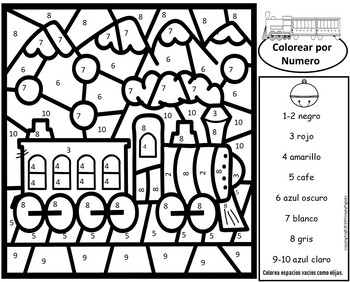 spanish polar express color number math christmas