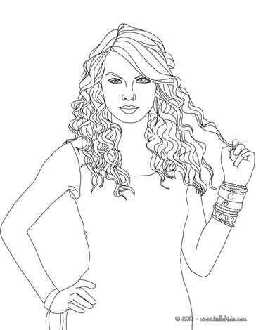 taylor swift curly hair coloring page with images