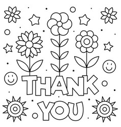 thank you coloring page black and white royalty free vector