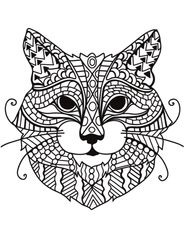 zentangle cat head coloring page free printable coloring