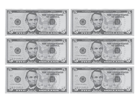 5 dollars banknote alternative template free printable