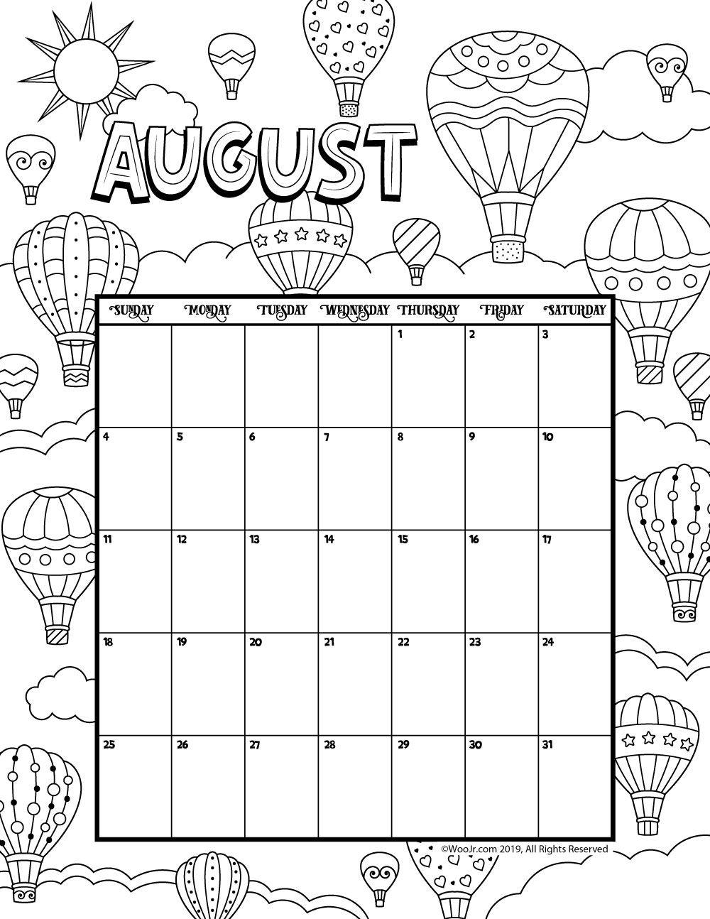 august 2019 coloring calendar kids calendar coloring