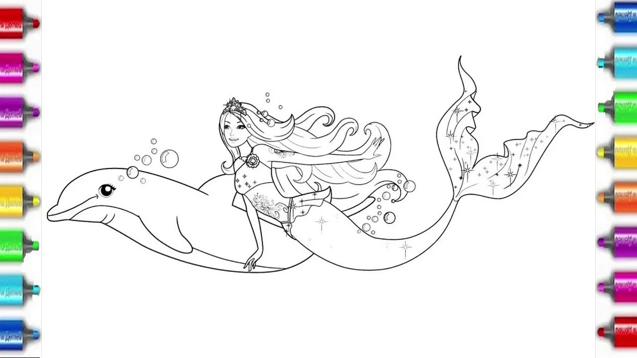 barbie mermaid coloring pages for kids