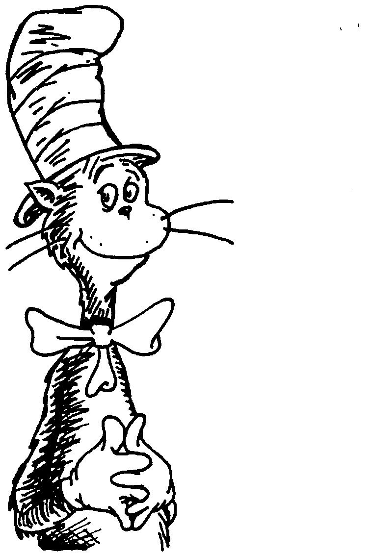 cat in the hat coloring page part 7 free resource for