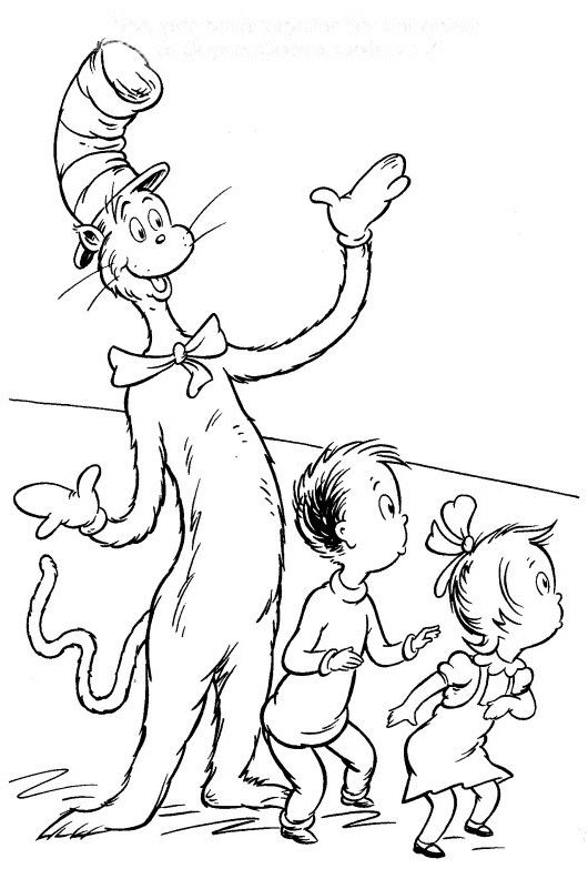 cat in the hat coloring pages for kids dr seuss coloring