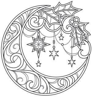 celestial christmas lunar wreath urban threads unique