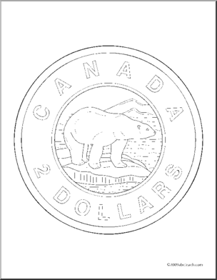 coloring page money canadian dollars toonie abcteach
