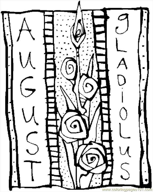 coloring pages 08 august gladiolus 2 natural world