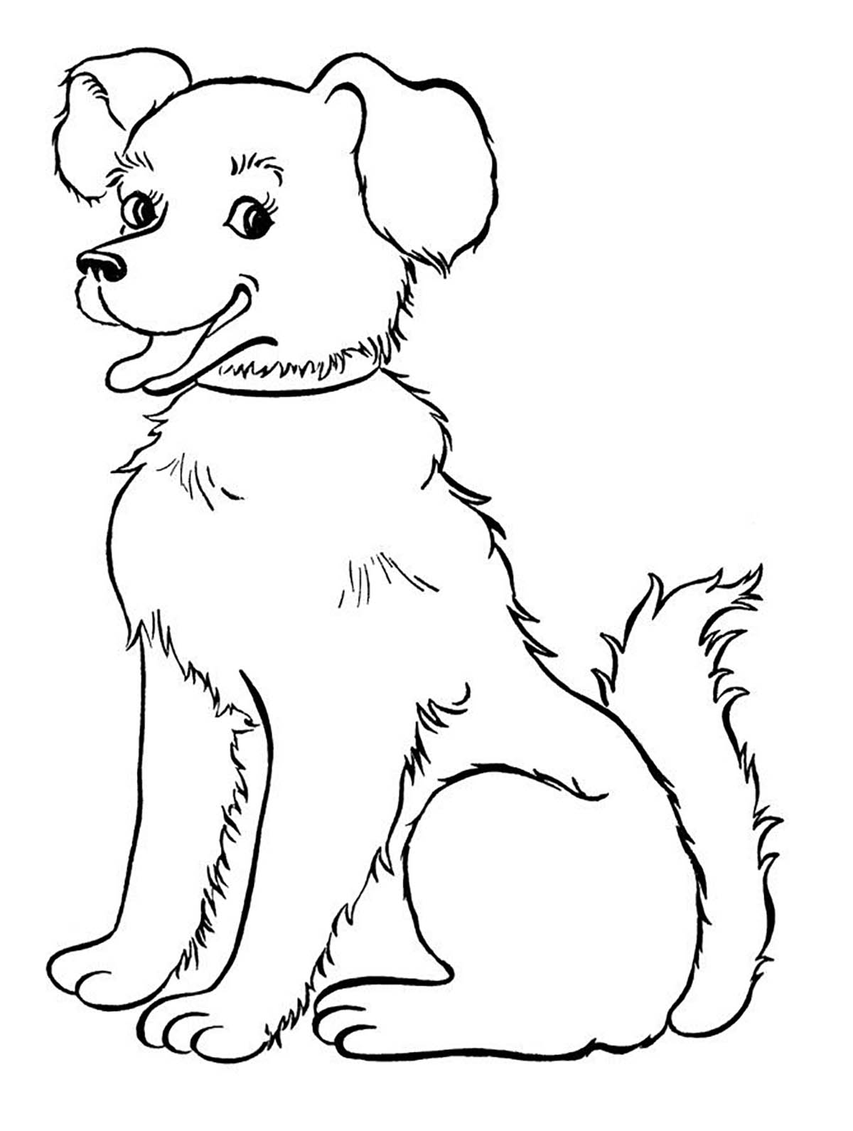dog for children smiling dog dogs kids coloring pages