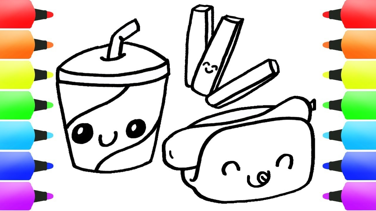 fast food junk food drawing for kids easy drawings