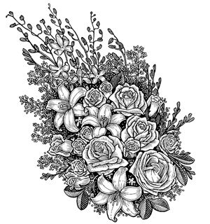 flower bouquet coloring pages free printable coloring