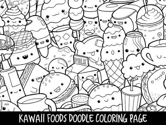 foods doodle coloring page printable cutekawaii coloring