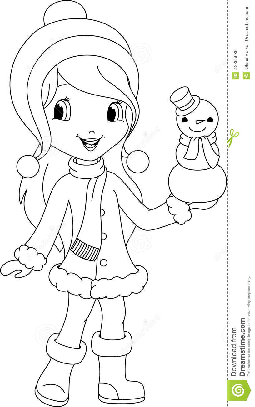 girl and snowman coloring page stock vector illustration