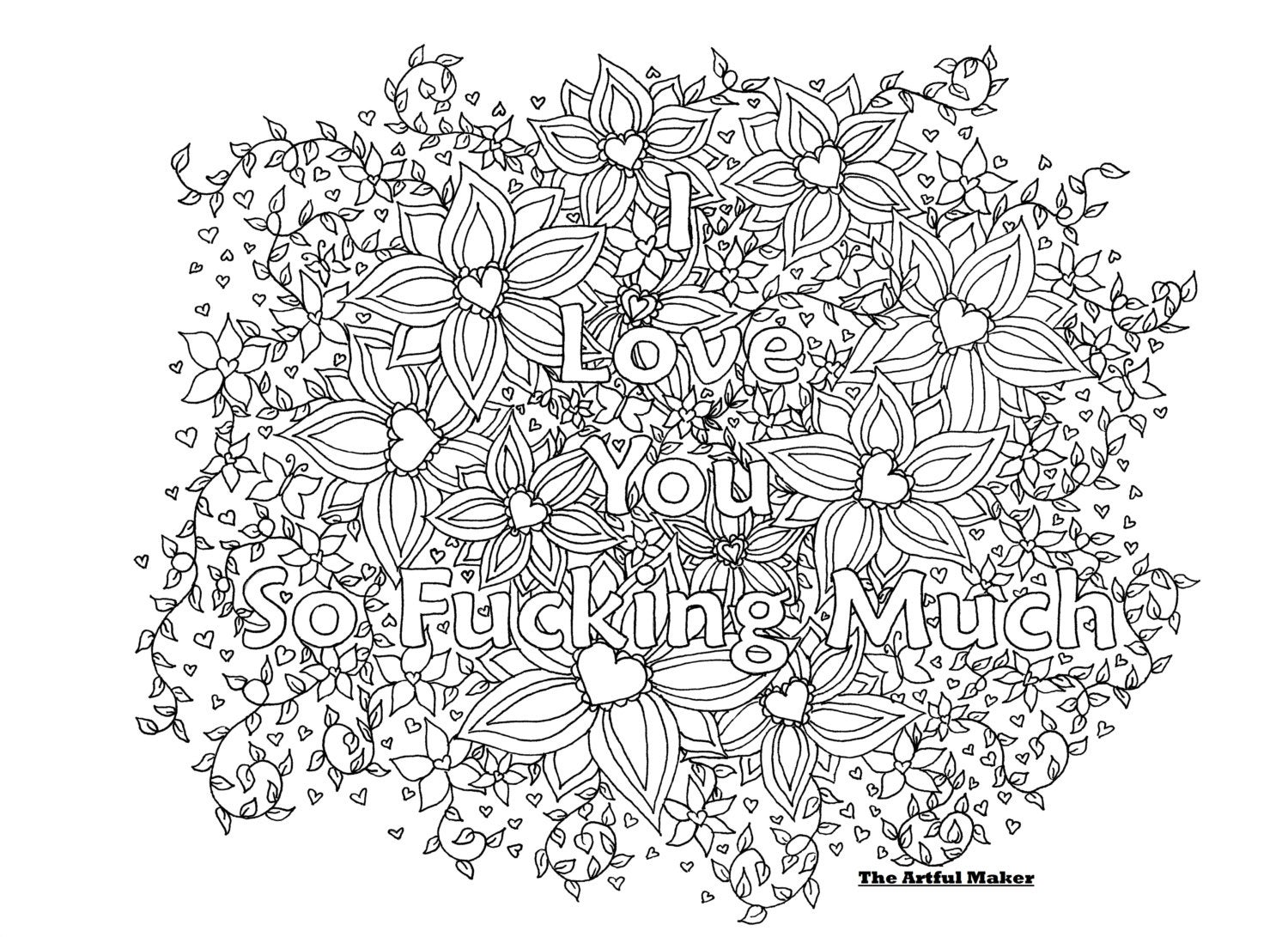 i love you so fucking much adult coloring page the artful