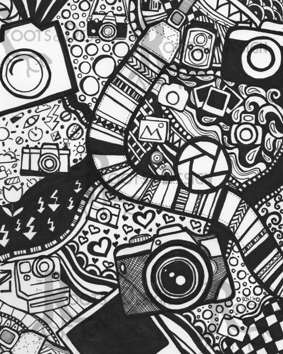instant download coloring page camera art print