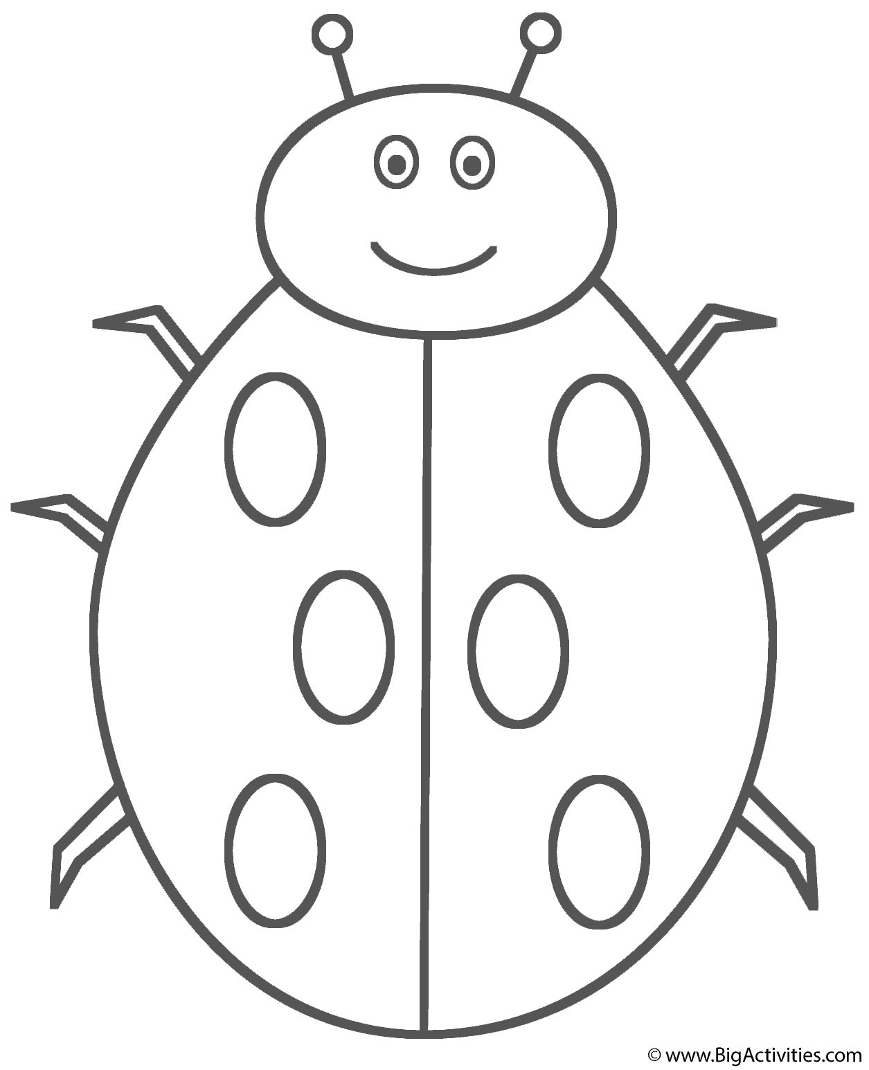 ladybug smiling coloring page insects