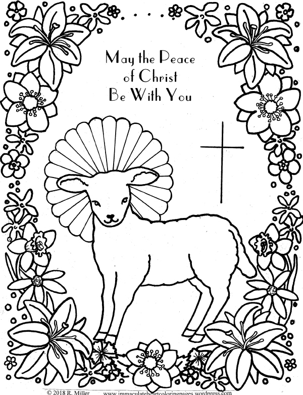 lamb of god easter coloring page immaculate heart