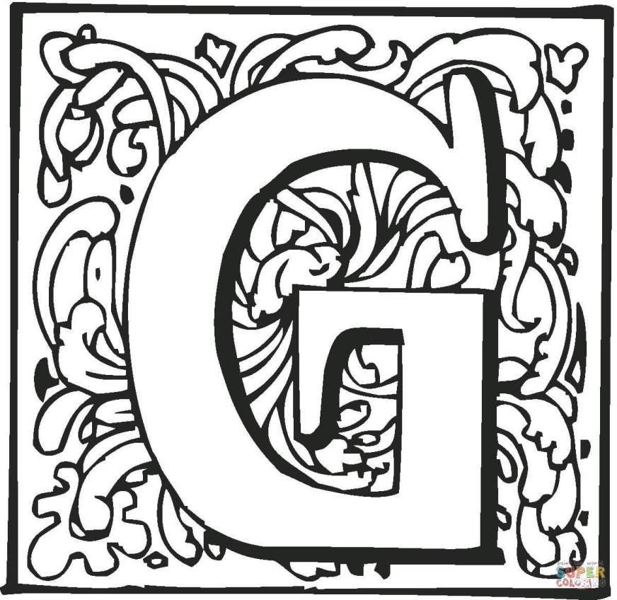 letter g with ornament coloring page free printable