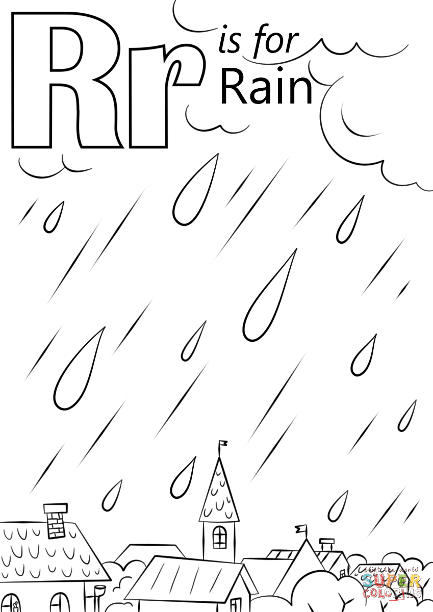 letter r is for rain coloring page free printable