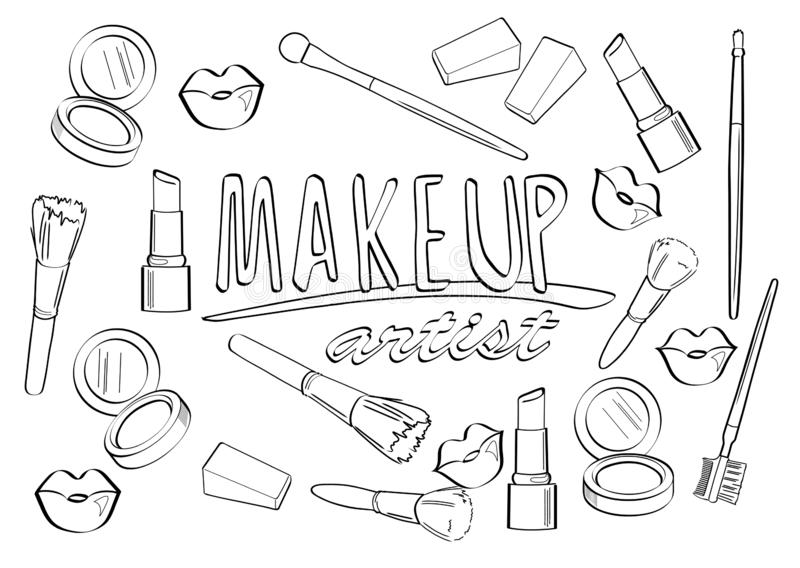 make up artist coloring page stock vector illustration