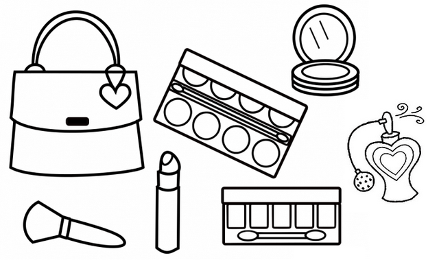 makeup and beauty kit coloring sheets for your little