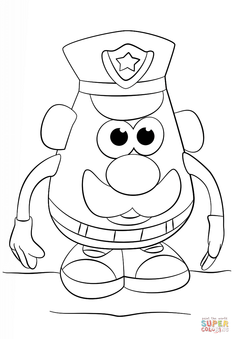 mr potato head police officer coloring page free