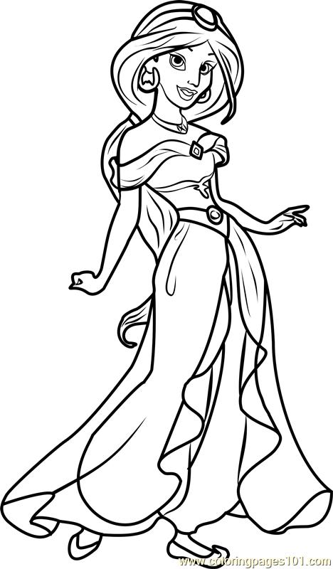 princess jasmine coloring page free disney princesses