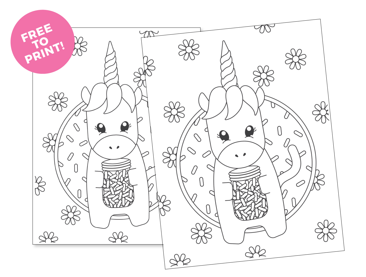 printable unicorn coloring page design eat repeat