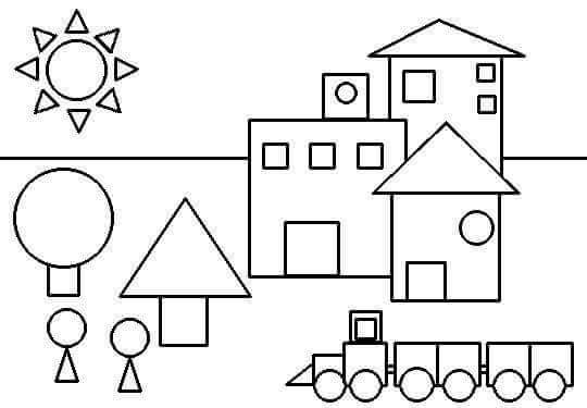 shapes coloring page preschool and homeschool