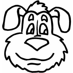 smiling dog head coloring page