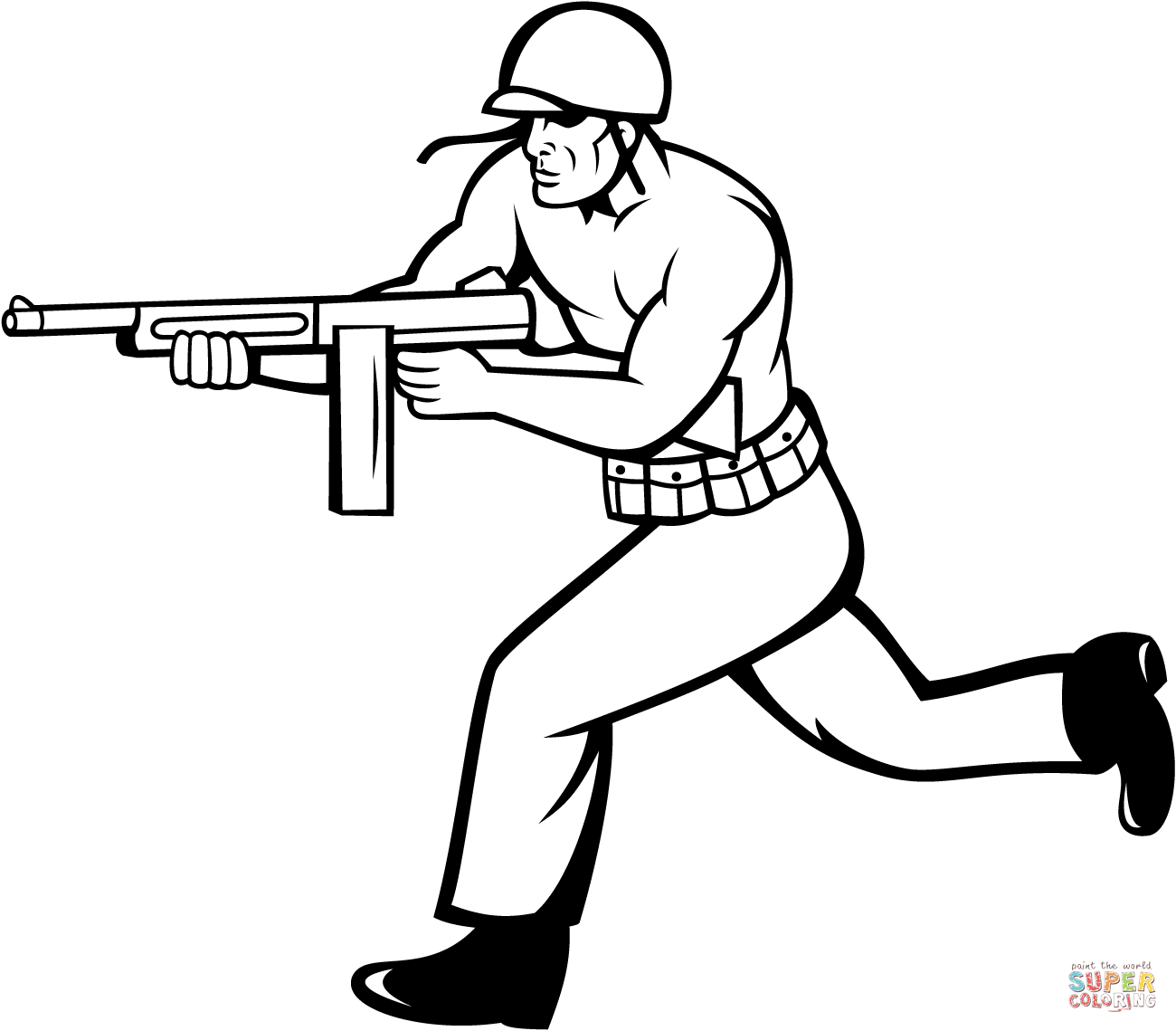 soldier running with tommy gun coloring page free