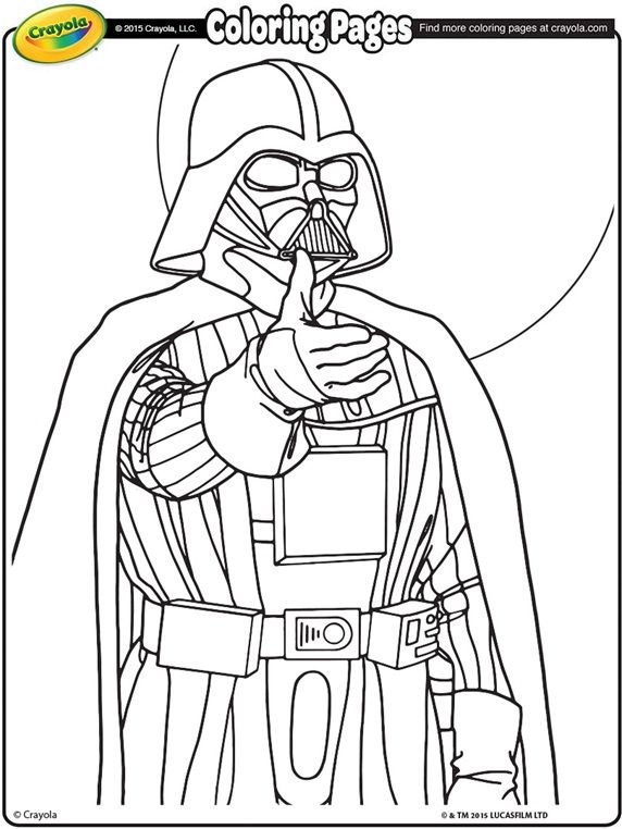 star wars darth vader on crayola coloring book pages