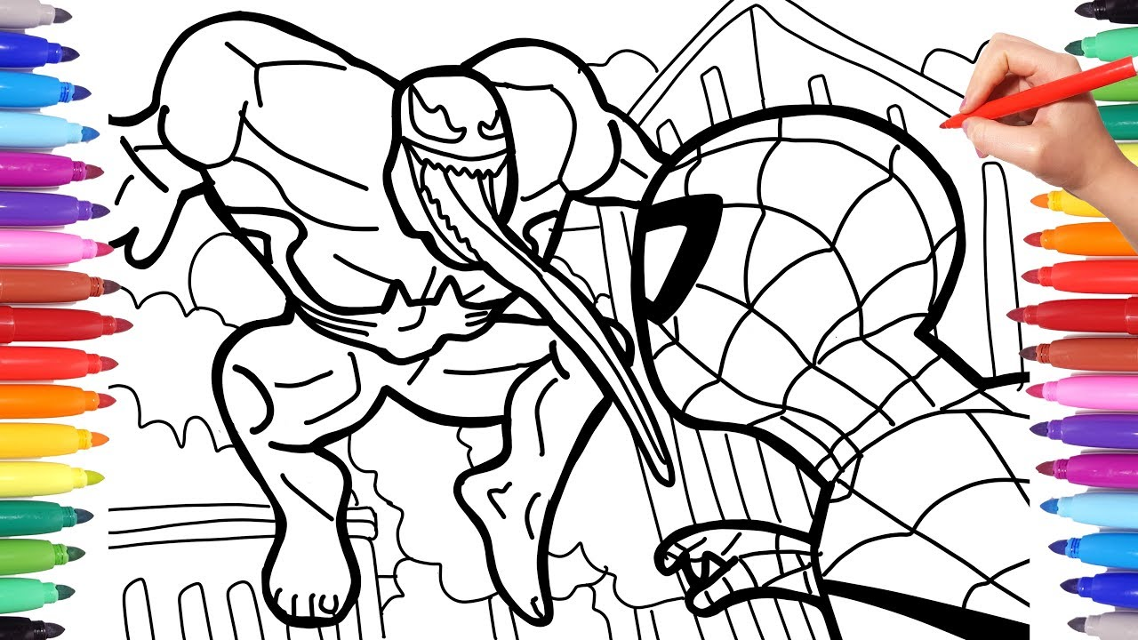 venom vs spiderman coloring pages how to draw spider man