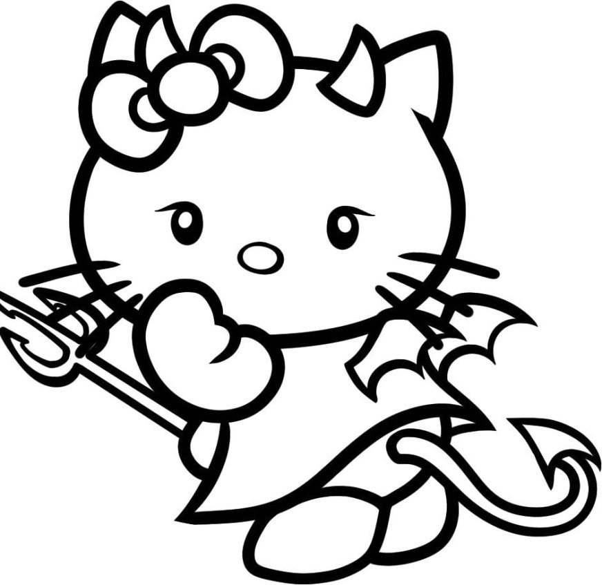 cartoons animals hello kitty angry coloring page