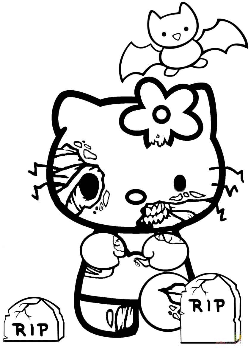hello kitty zombie halloween coloring pages to print for