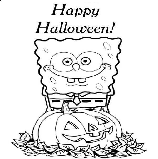 spongebob says happy halloween coloring page kids play