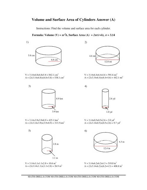volume and surface area of cylinders old