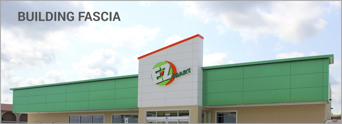 E-Z Mart building fascia and store front signage