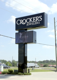 Pylon sign with electronic message center. Texarkana, TX