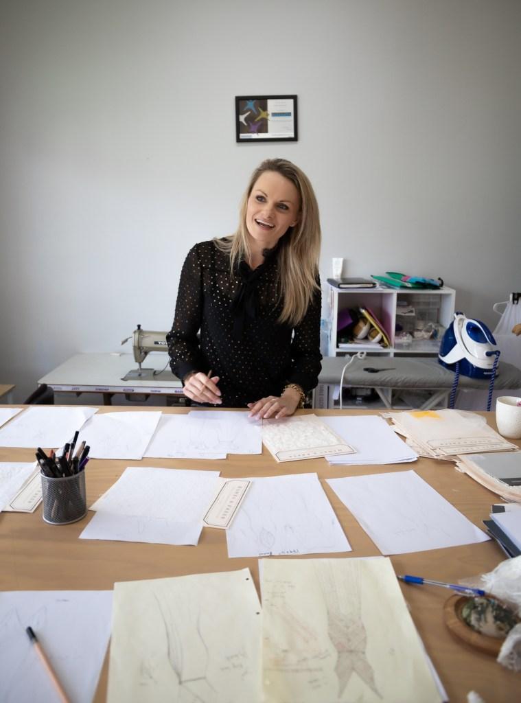 Tauranga bridal gown designer Nicky Hayward during the design process